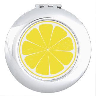 Bright Yellow Lemon Citrus Fruit Slice Design Makeup Mirrors
