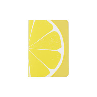 Bright Yellow Lemon Citrus Fruit Slice Design Passport Holder