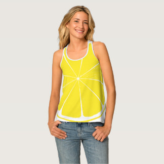 Bright Yellow Lemon Citrus Fruit Slice Design Singlet