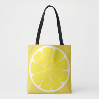 Bright Yellow Lemon Citrus Fruit Slice Design Tote Bag