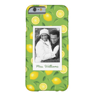 Bright Yellow Lemon Pattern | Add Your Photo Barely There iPhone 6 Case