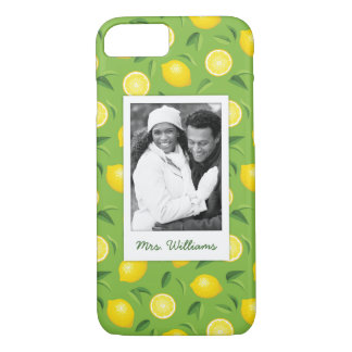Bright Yellow Lemon Pattern | Add Your Photo iPhone 8/7 Case