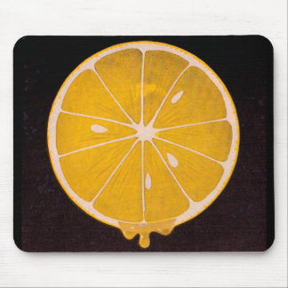 bright yellow lemon slice mouse pad