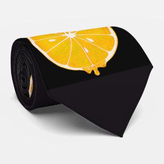 bright yellow lemon slice print tie