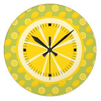 Bright Yellow Lemons and Slices Clocks