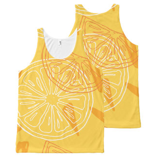 Bright yellow lemons drawn summer pattern All-Over print singlet