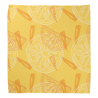 Bright yellow lemons drawn summer pattern bandana