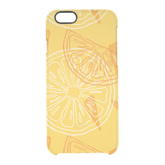Bright yellow lemons drawn summer pattern clear iPhone 6/6S case