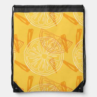 Bright yellow lemons drawn summer pattern drawstring bag