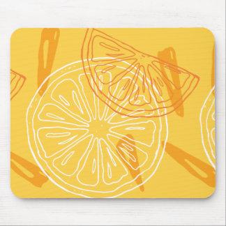 Bright yellow lemons drawn summer pattern mouse pad