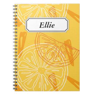 Bright yellow lemons drawn summer pattern notebook