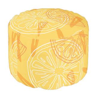Bright yellow lemons drawn summer pattern pouf