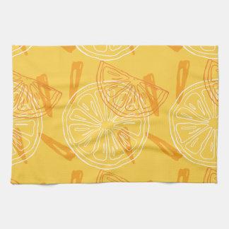 Bright yellow lemons drawn summer pattern tea towel