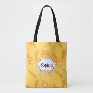 Bright yellow lemons drawn summer pattern tote bag