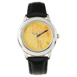 Bright yellow lemons drawn summer pattern watch