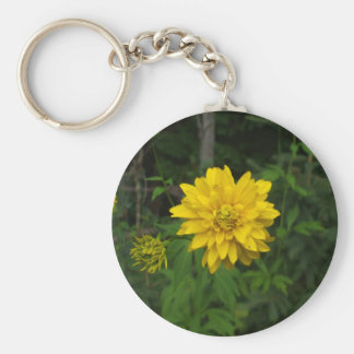 Bright Yellow Marigold  Flower Basic Round Button Key Ring