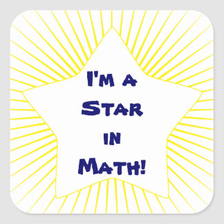 Bright Yellow Math Student Star Square Sticker
