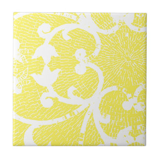 BRIGHT YELLOW MOSAIC SMALL SQUARE TILE