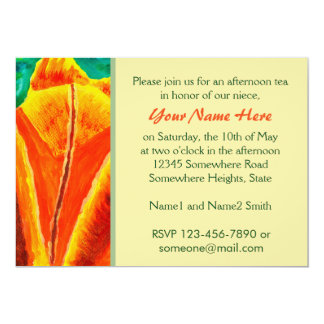 Bright Yellow Orange Tulip Acrylic Floral Painting 5x7 Paper Invitation Card