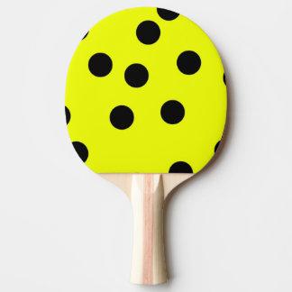 Bright Yellow Polka Dots Ping Pong Paddle
