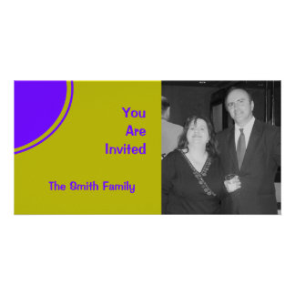 Bright yellow purple mod party invite customized photo card