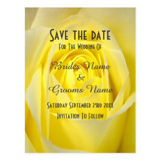 Bright yellow rose flower save the date postcard