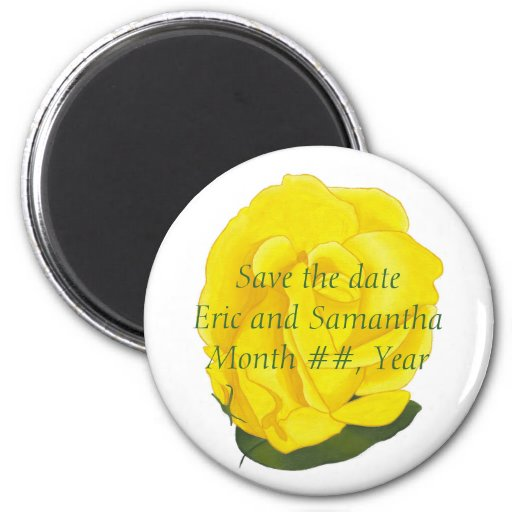 Bright Yellow Rose, Save the date wedding magnets