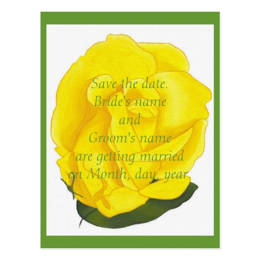 Bright Yellow Rose Save the date wedding postcards