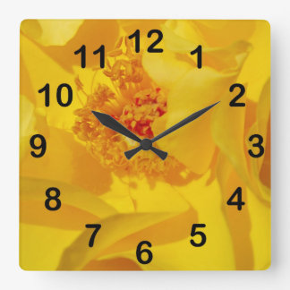 Bright Yellow Rose Square Wall Clock