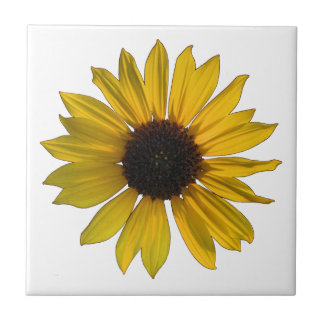 Bright Yellow Single Sunflower Small Square Tile