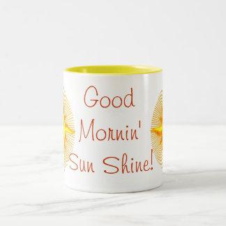 Bright Yellow Smiling Sun Design Mug