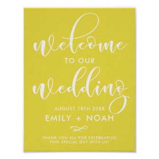 Bright Yellow Stylish Script Welcome Wedding Sign
