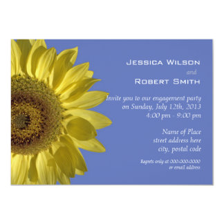Bright yellow summer sunflower engagement party custom announcement