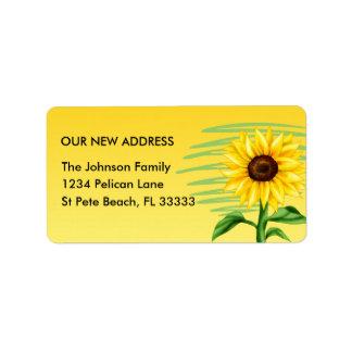 Bright Yellow Sunflower Change of Address Label