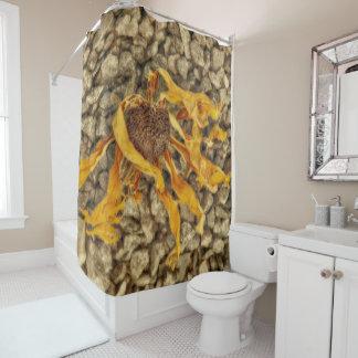 Bright Yellow Sunflower On Stones Shower Curtain