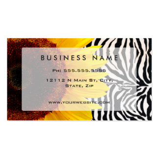 Bright Yellow Sunflower on Zebra Print Stripes Double-Sided Standard Business Cards (Pack Of 100)