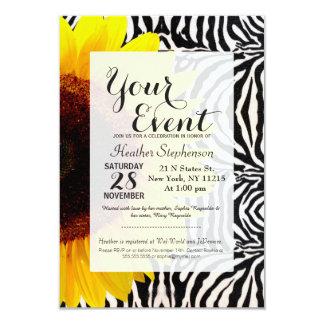 Bright Yellow Sunflower on Zebra Print Stripes Card