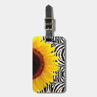 Bright Yellow Sunflower on Zebra Print Stripes Luggage Tag