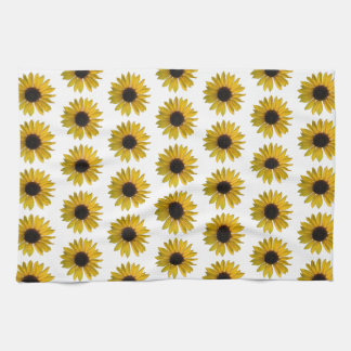 Bright Yellow Sunflower Pattern Tea Towel