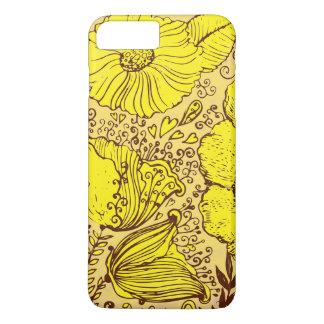 Bright Yellow Vintage Flowers Hand Illustration iPhone 7 Plus Case