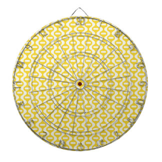 Bright Yellow Wavy Retro Pattern Dart Board