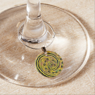 Bright Yellowl Abstract Wine Charm
