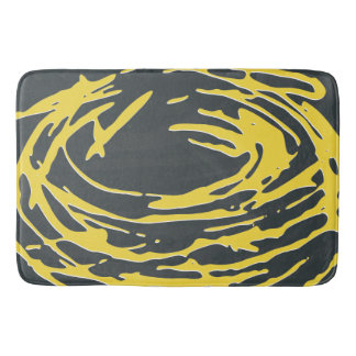 Brighter Nest Abstract Bold Yellow & Gray Bathmat