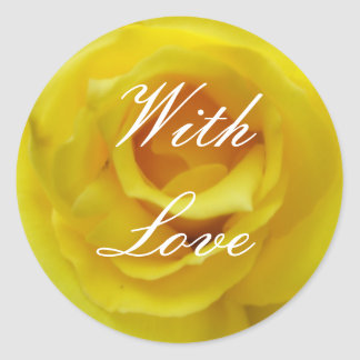Brightest Yellow Rose Wedding Classic Round Sticker