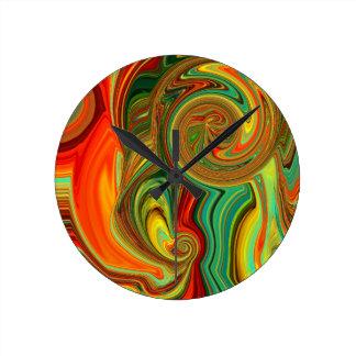 Brightly Bold Abstract Design in Swirls Round Clock