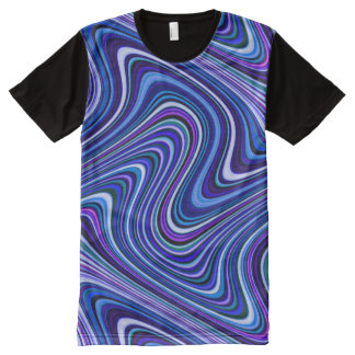 Brightly Colored Blue Shade Curvy Line Pattern All-Over Print T-Shirt