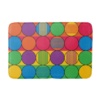 Brightly Colored Circles and Stripes Bath Mat
