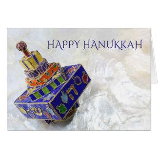 Brightly colored enameled dreidel Hanukkah card