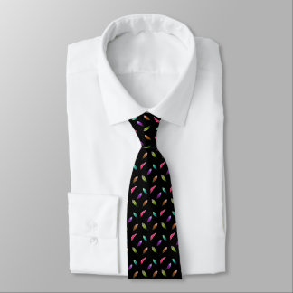 Brightly Colored Feathers, Black Background Tie