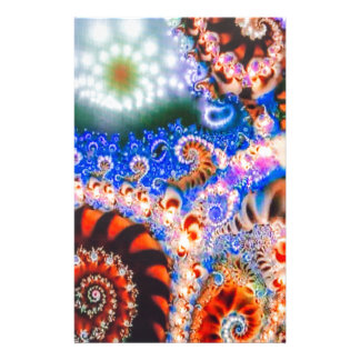 Brightly colored fractals stationery design
